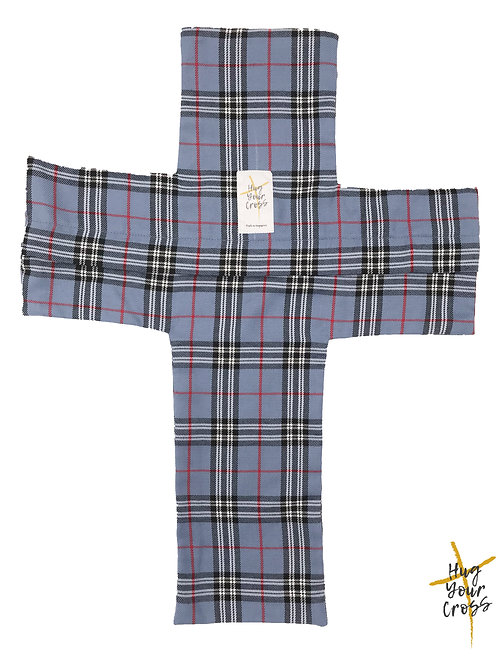 Plaid & Check- Royal Blue Cross Pillow Cover