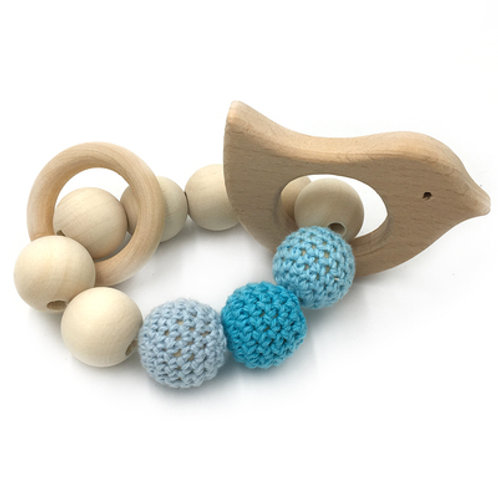 Natural Wood Teether- Birdie