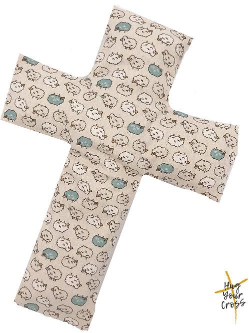 My Little Fluffy Sheep Cross Pillow- Blue