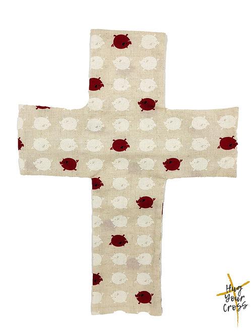 My Little Red Piglet Cross Pillow Cover