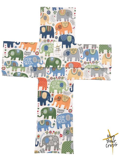 My Colourful Elephants Cross Pillow Cover