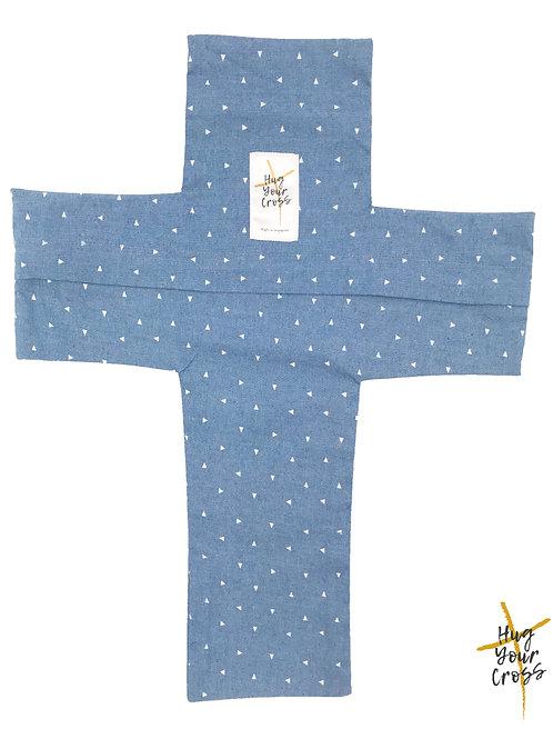 My Little Tri Denim Cross Pillow Cover