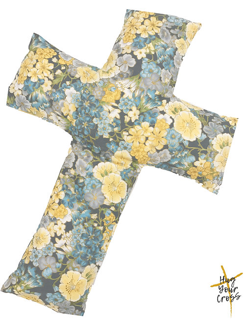 Japan Cherry Blossom- Print 3 Blue Cross Pillow