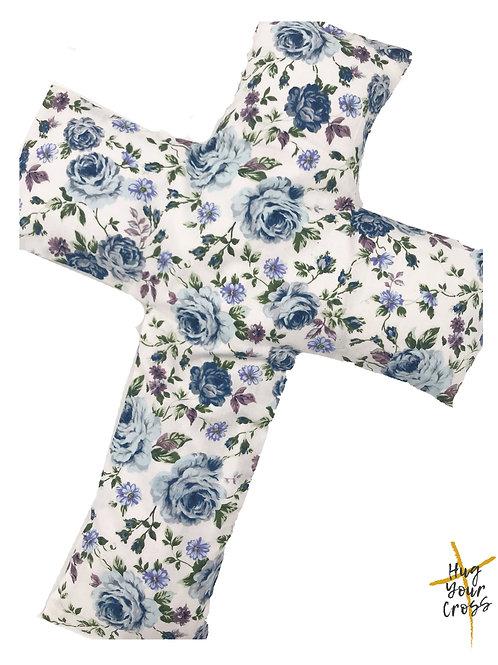 Blue Rosie Cross Pillow