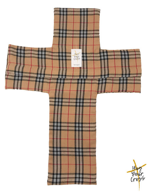 Plaid & Check- Caramel Cross Pillow Cover
