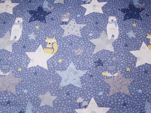 Starry Bear & Fox Minky Blanket