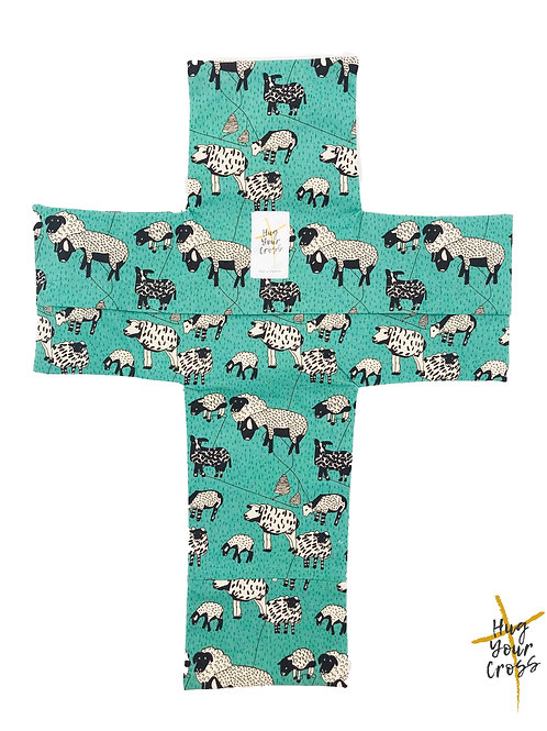 My Little Sheep- Green Cross Pillow Cover