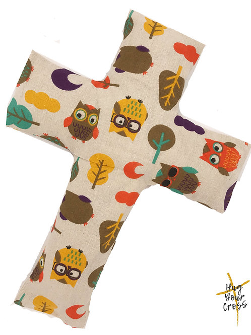 My Little Geek Owl- Brown Cross Pillow