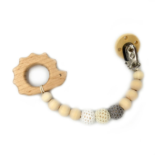 Natural Wood Teether with Clip on- Hedgehog