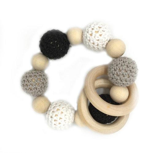 Natural Wood Teether- Black Grey White Ring