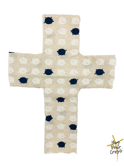 My Little Blue Piglet Cross Pillow Cover