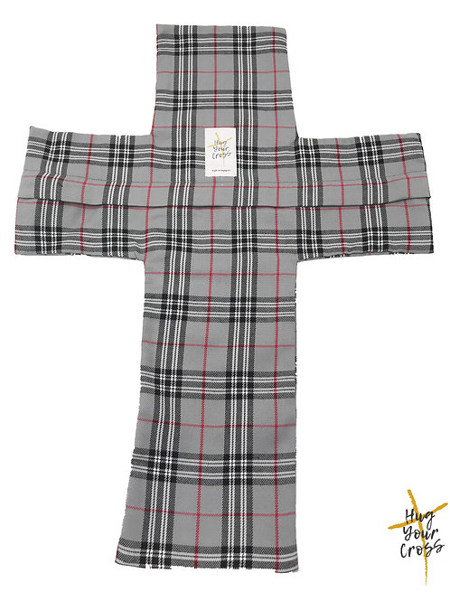 Plaid & Check- Grey Cross Pillow Cover