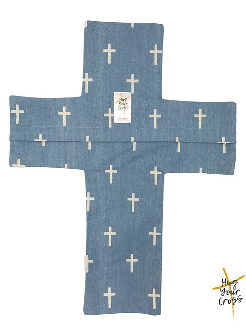 My Little Cross Denim Cross Pillow Cover