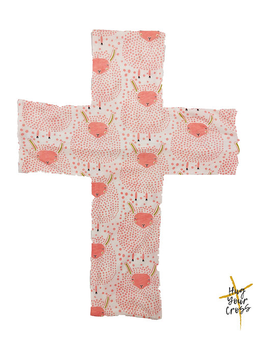 My Little Dreamy Sheep Cross Pillow Cover- Pink