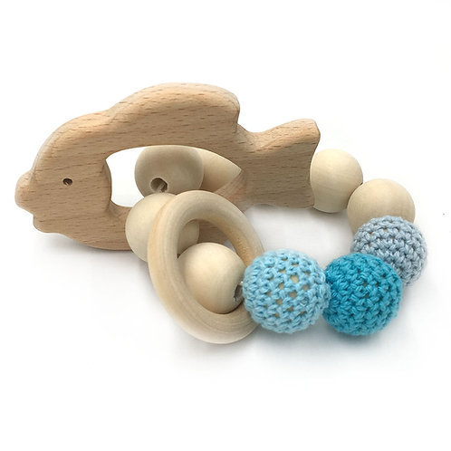 Natural Wood Teether- Gold Fish