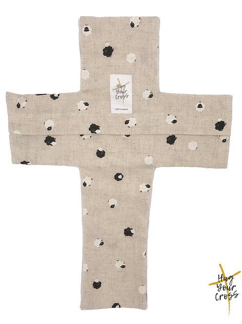 My Little Japan Sheep- Black Cross Pillow Cover