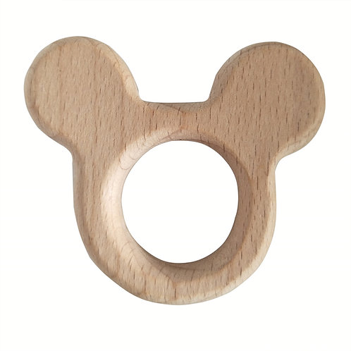 Natural Wood Teether- Mouse