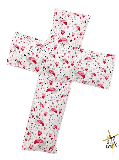 My Little Flamingo Hearts Cross Pillow
