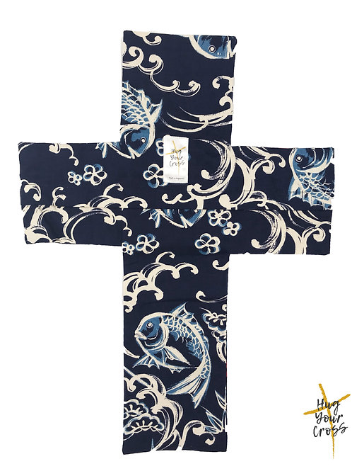 Japanese Katagami  Cross Pillow Cover