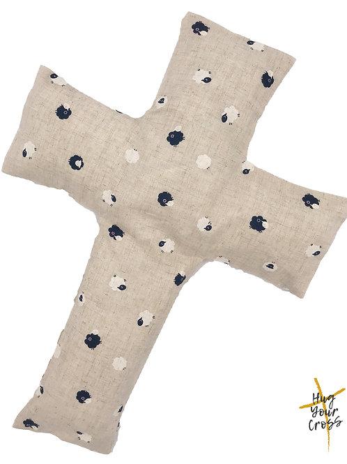 My Little Japan Sheep- Blue Cross Pillow