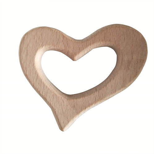 Natural Wood Teether- Heart