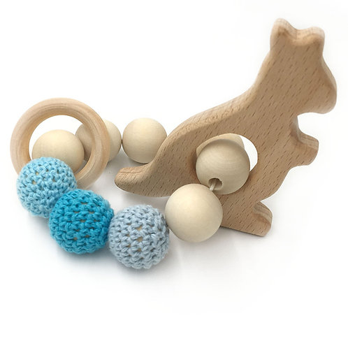 Natural Wood Teether- Kangaroo