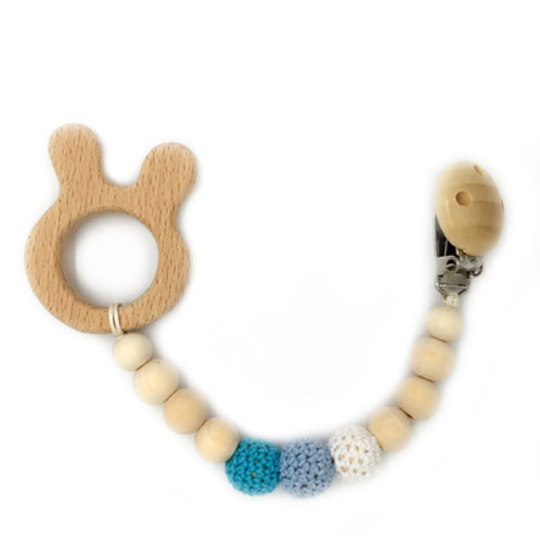 Natural Wood Teether with Clip on- Bunny