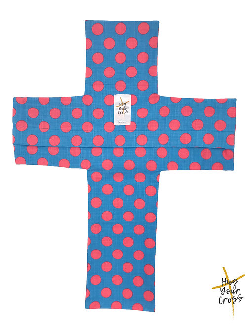 Hot Pink Polka Dots Cross Pillow Cover