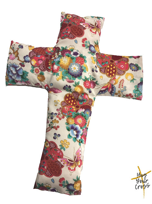 My Little Ikebana Cross Pillow- Red