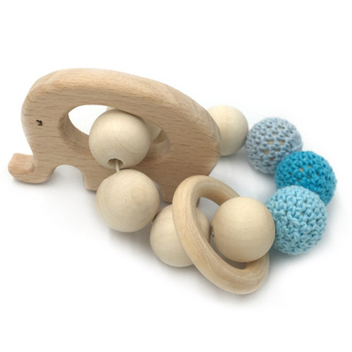 Natural Wood Teether- Elephant