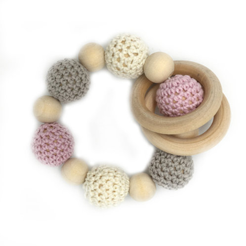 Natural Wood Teether- Grey Pink White Rings