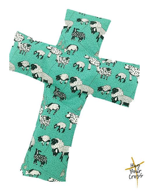 My Little Sheep- Green Cross Pillow