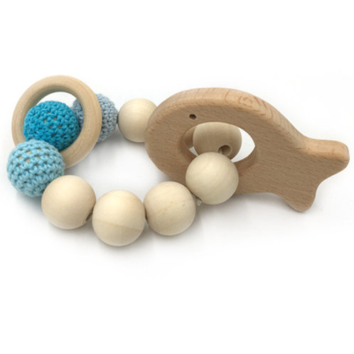 Natural Wood Teether- Fish