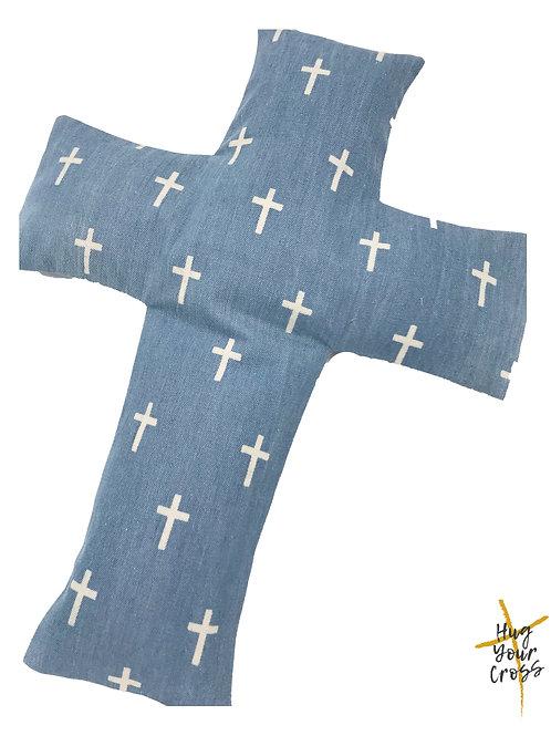 Denim Cross- Dark Blue Cross Pillow