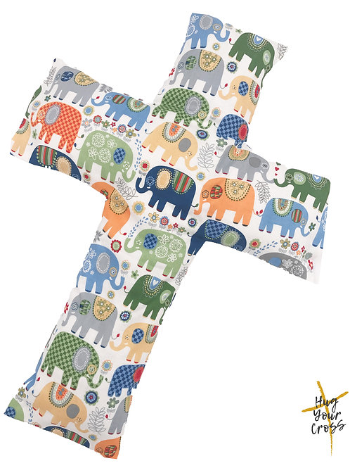 My Colourful Elephants Cross Pillow