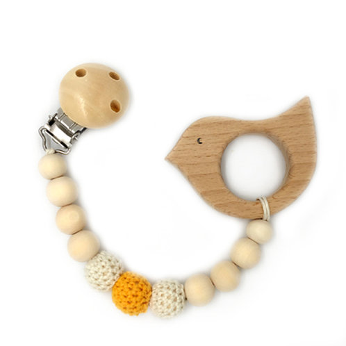 Natural Wood Teether with Clip on- Birdie