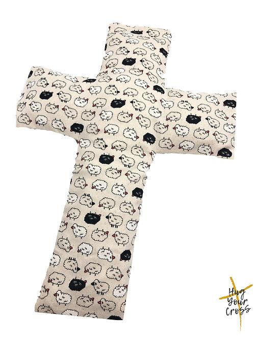 My Little Fluffy Sheep Cross Pillow- Black