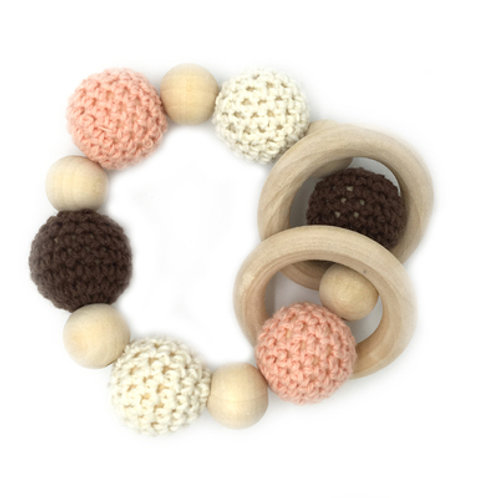 Natural Wood Teether- Grey Pink White Ring