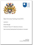 Open University teaching award, S111 Questins in Scienc