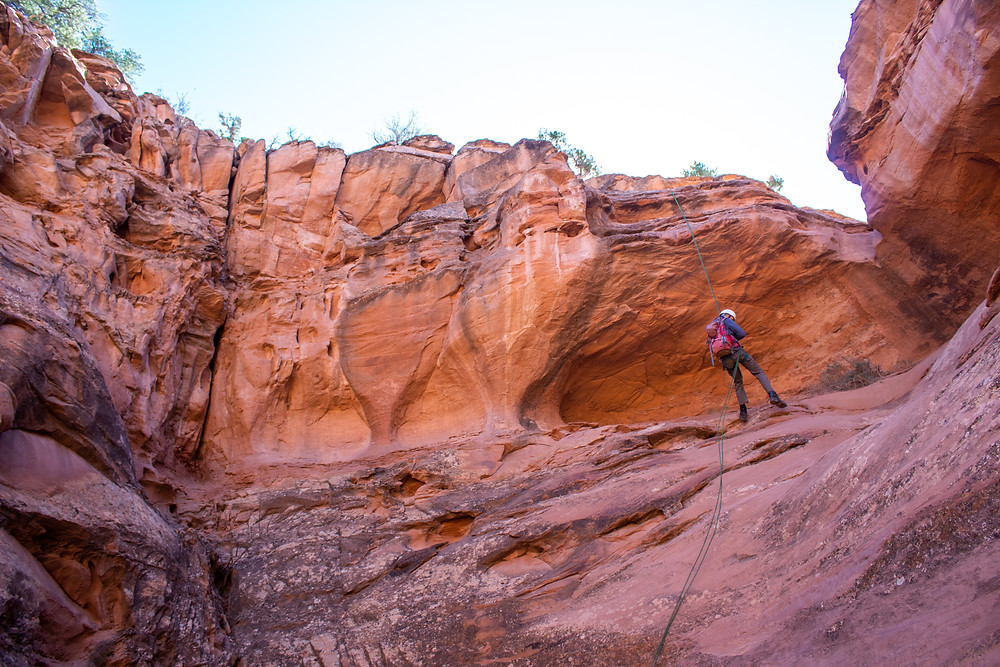 Person rappels into red rock canyon.