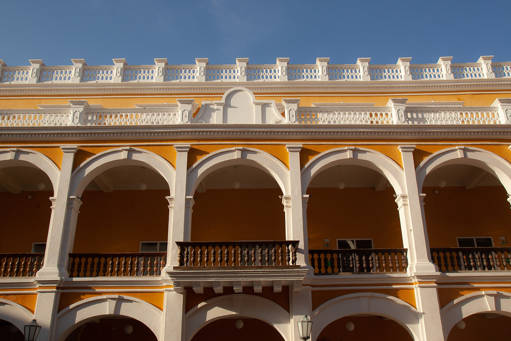 Bright yellow building in historic Cartagena, Colombia