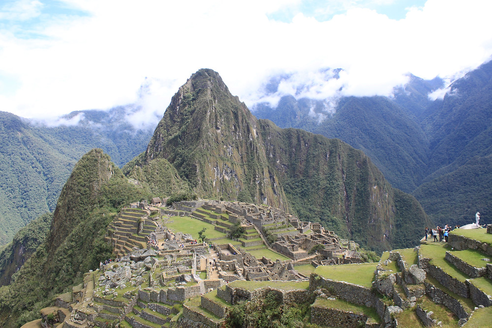 View of Machu Picchu ruins from above.