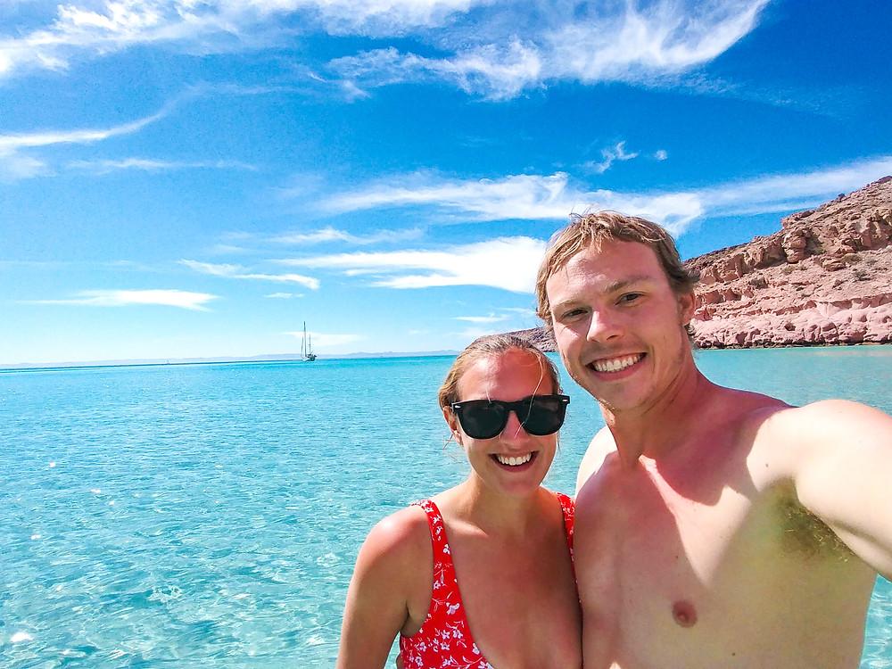 Two people in tropical ocean.