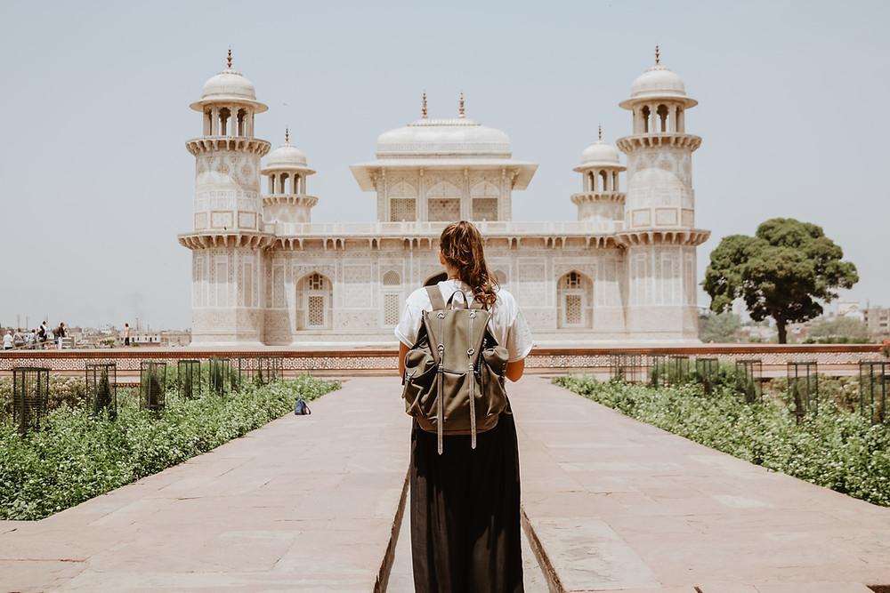 female traveler exploring new destination