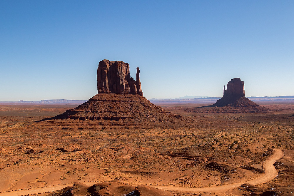 Large rock formations in Monument Valley