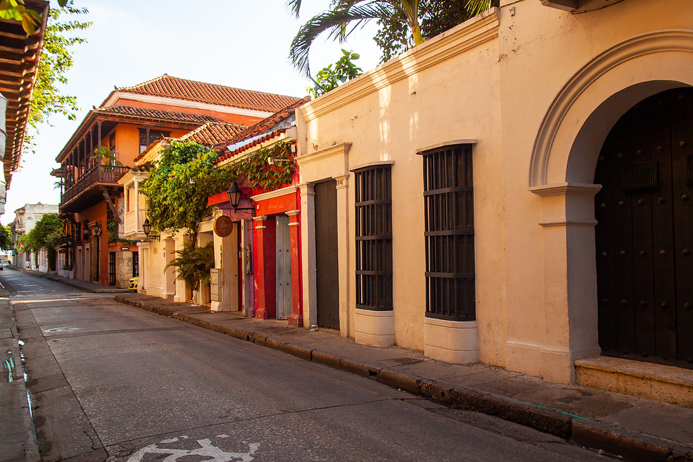 Historic, colorful buildings in Cartagena, Colombia