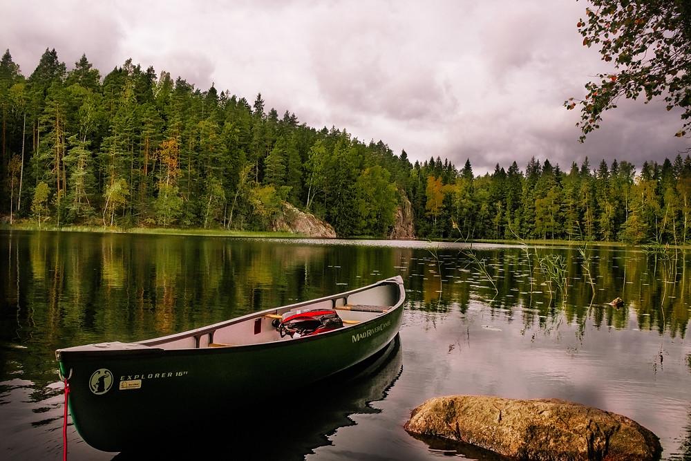 Canoe on lake in Finland