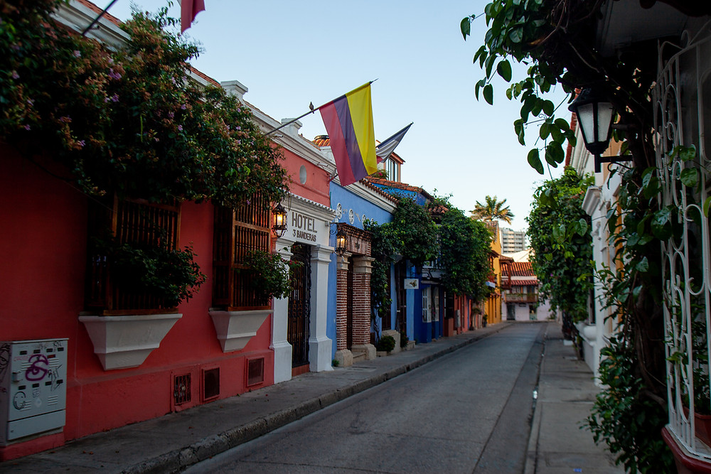 Early morning streets in Cartagena