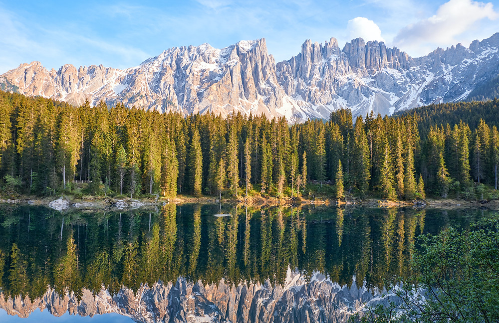 Mountains and forests by a lake