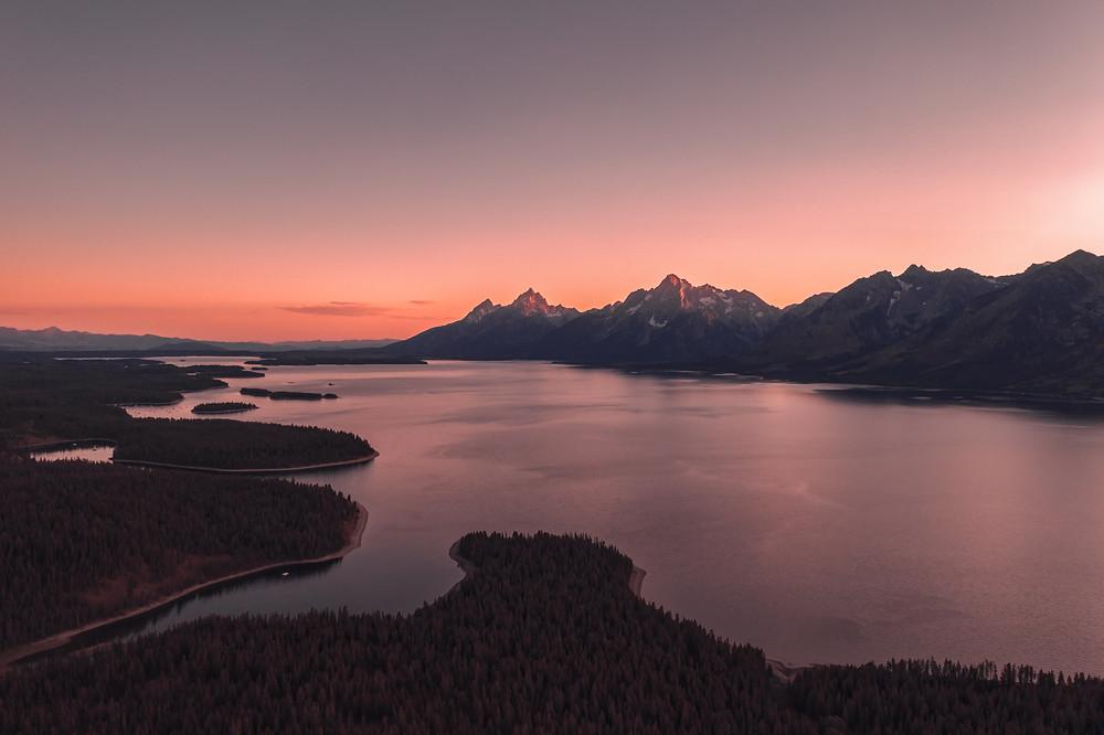 Sunset glow on Jasper Lake in Wyoming.